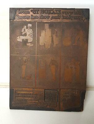 Vintage Letterpress Print Block Wood Advertisement Newspaper Excide 75 Oil Large