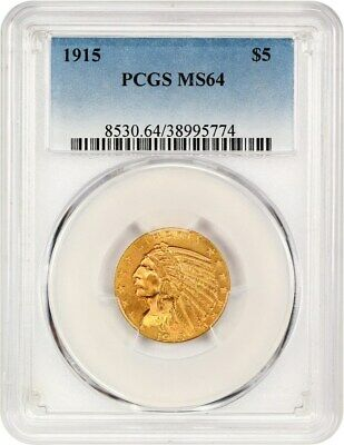 1915 $5 PCGS MS64 - Indian Half Eagle - Gold Coin