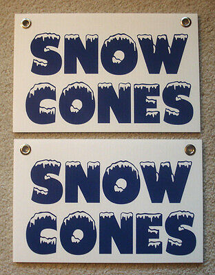 2 Snow Cones Coroplast Signs New 8 X 12 Concession Stand