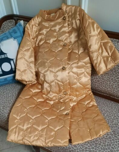 VINTAGE HOLLYWOOD REGENCY Quilted Golden Satiny Robe, Jeweled Buttons, So Glam!