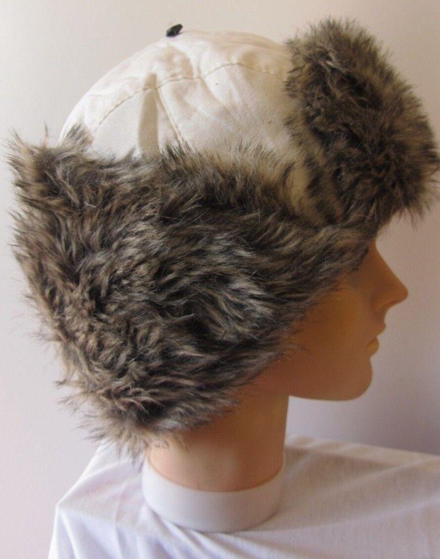 Neue warme Wintermütze weiß mit weiß braunem Fell Mütze Damen Fliegermütze *228