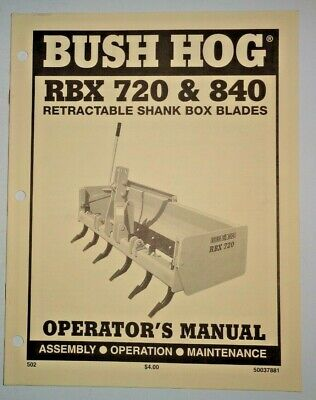 Bush Hog Rbx 720 840 Retractable Shank Box Blade Operators Maintenance Manual