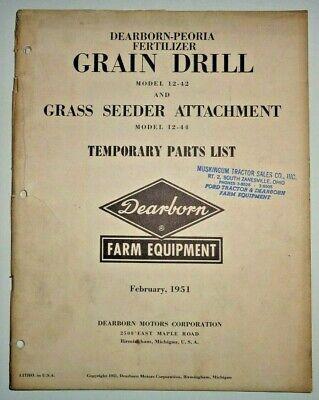 Ford 12-42 Grain Drill Seeder Attachment Parts Catalog Manual Book Original