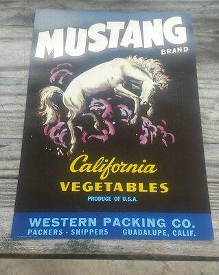 25 Mustang Vegetable Crate Labels Salinas, California original 1950s wholesale