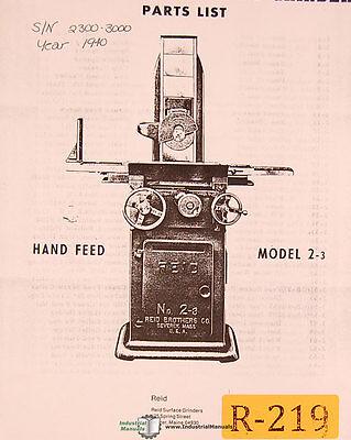 Reid 2-3 Surface Grinders 2300-3000 Parts Manual Year 1940