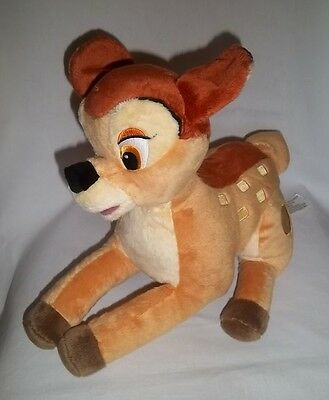 "DISNEY STORE 12"" Plush BAMBI Deer Soft Laying Stuffed Animal Toy Brown Lg Toy"