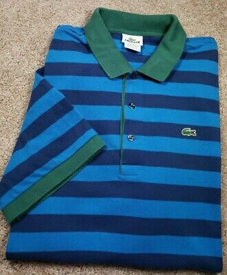 LACOSTE (5191.L)-Blue Stripe/Green Pique Cotton, Mens SS/3B Polo Shirt-(7).XL