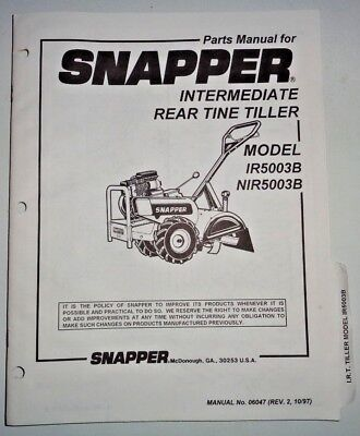 Snapper Ir5003b Nir5003b Rear Tine Tiller Parts Catalog Manual Book 1097