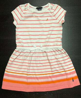 Girls Dress Toddler Size 3T Nautica Pink Coral Stripes