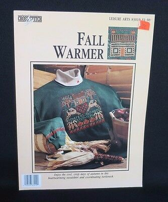LEISURE ARTS FALL WARMER DEER CABIN COUNTED CROSS STITCH PATTERN LEAFLET 83010