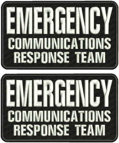 EMERGENCY COMMUNICATIONS RESPONSE TEAM EMB PATCH 4X7.5 HOOK ON BACK BLK/WHITE
