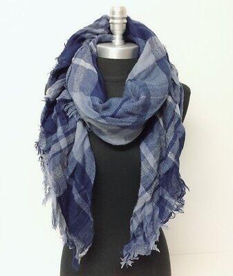 NEW Mid weight Plaid Square Scarf w/ lurex Blue Cozy Wrap shawl UNISEX Warm