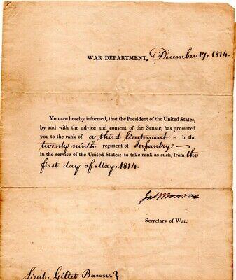 1814, James Monroe, RARE, War of 1812 Commission letter signed,