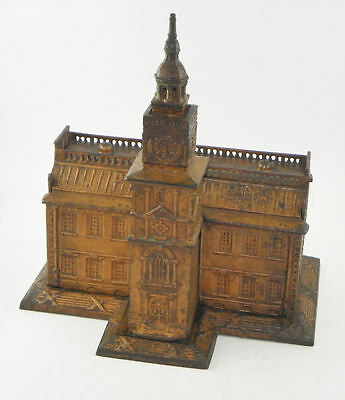 Antique Cast Iron Independence Hall Toy Bank   Exceptional Original Condition