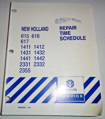 New Holland 615-2355 Disc Mowermower Conditioner Repair Time Flat Rate Manual