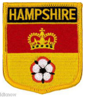 """Hampshire County (Shield) Embroidered Patch 6cm X 7cm (2 1/2"""" X 2 3/4"""")"""