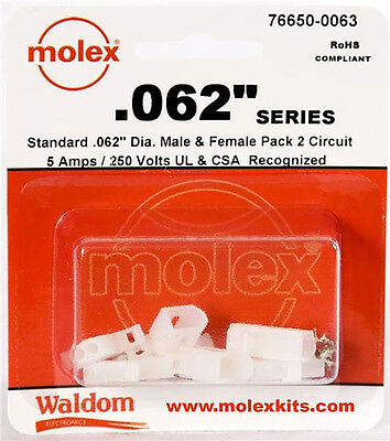 Molex 2-pin Connector Kit 0.062 3 Sets