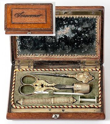 Antique French Vermeil Sterling Silver Embroidery or Sewing Tools, Souvenir Etui