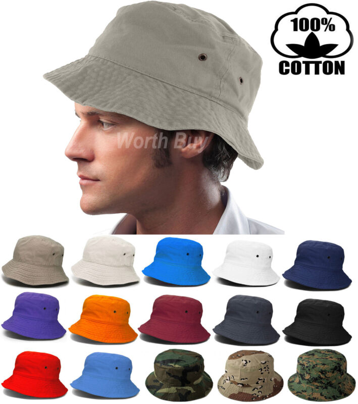 Bucket Hat Cap Fishing Boonie Brim visor Sun Safari Summer Mens Womens  Camping af8e5f63624c