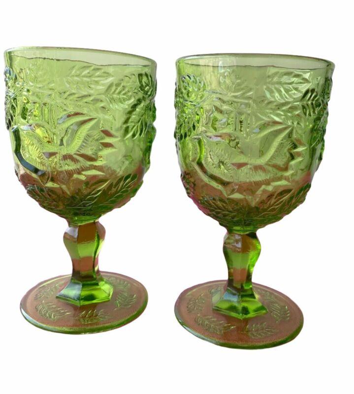 Lot 2 Fenton / L.G. Wright Madonna Inn Flat Wild Rose Green Goblets
