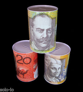 4 x  LARGE Money Tin Box  Australian Money Note Design 15cm x 22cm New