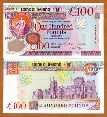 Bank of Ireland, Northern, 100 pounds, 2005, P-82, UNC