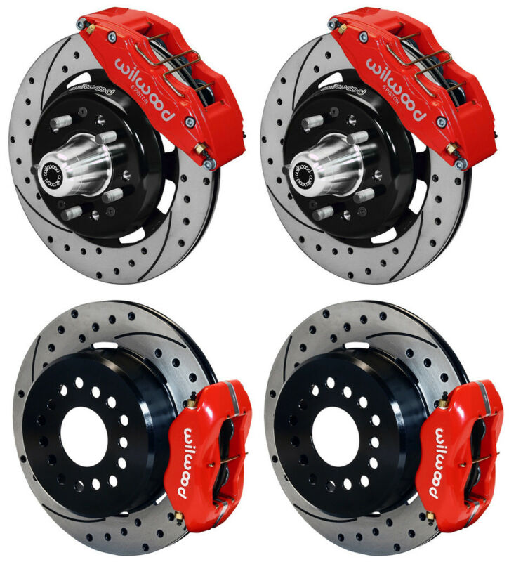 """Wilwood Disc Brake Kit,55-57 Chevy,12"""" Drilled Rotors,6/4 Piston Red Calipers"""