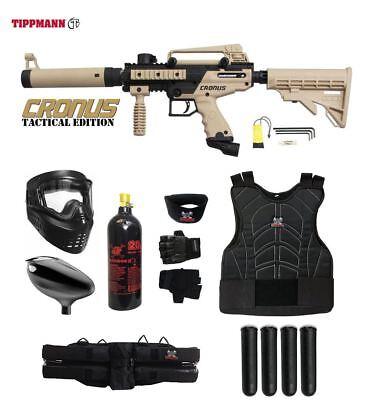 Tippmann Tactical Paintballs - Tippmann Cronus Tactical Starter Protective CO2 Paintball Gun Package Tan