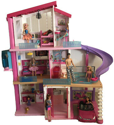 Mattel Barbie 3 Story Dream House sliding pool, elevator, car,11 dolls+furniture