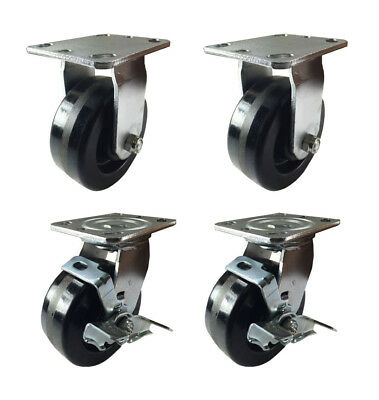 4 Heavy Duty Caster Set 4 5 6 Phenolic Wheels Rigid Swivel And Brake
