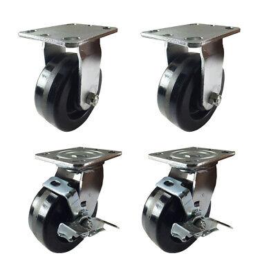 4 Heavy Duty Caster Set 4 5 6 Phenolic Wheels Rigid Swivel And Brake