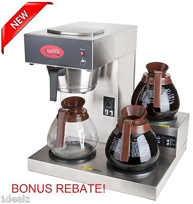#1 Commercial Brewer Coffee Maker Pourover Machine 3 Warmers Stainless Steel  ()