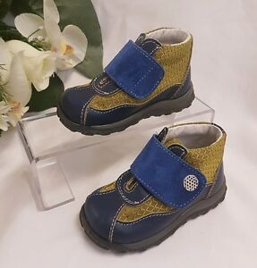 BAMBINI-Ragazzo-Verde-Scarpe-Sneaker-VERA-PELLE-Fatto-Italia-blu-tg-26-bassa