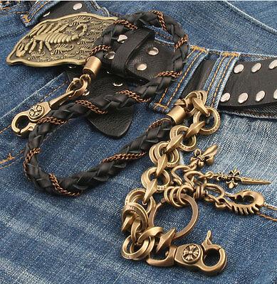 Leather Cross Ring Trucker Rocker Biker Key Jean Wallet