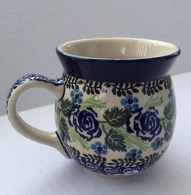 NEW C.A. Polish Pottery 16 Oz Bubble Mug-Blue Rose