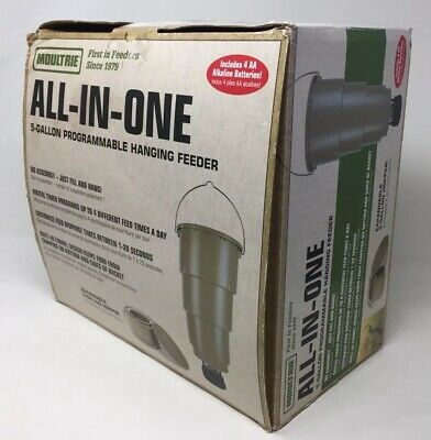 All In One Hanging Deer Feeder With Adjustable Timer 5 Gallon Tapered Bucket
