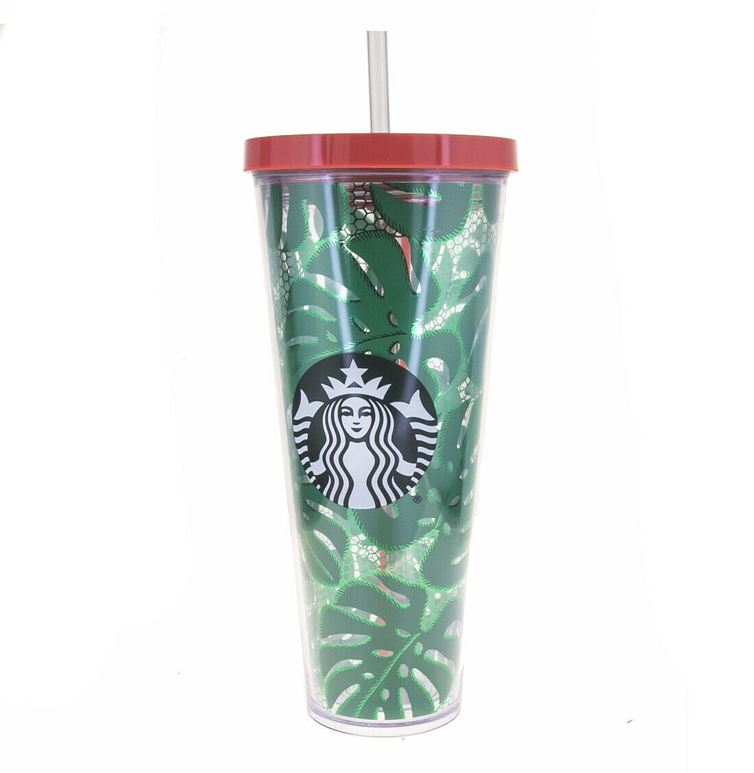 STARBUCKS Venti Green Tropical Leaves Lace Print Cold Cup Ac