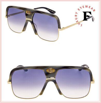 GUCCI Guilloché 0478 Gold Horn Blue Navigator Vintage Unisex Sunglasses GG0478S