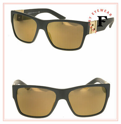 VERSACE GRECA Square Sunglasses VE4296 Matte Black Gold Mirrored 4296 Authentic