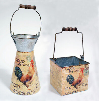 Old Style Metal - Rustic Old Style Look Metal Chicken Pail or Box(Your Choice)Indoor Country Decor