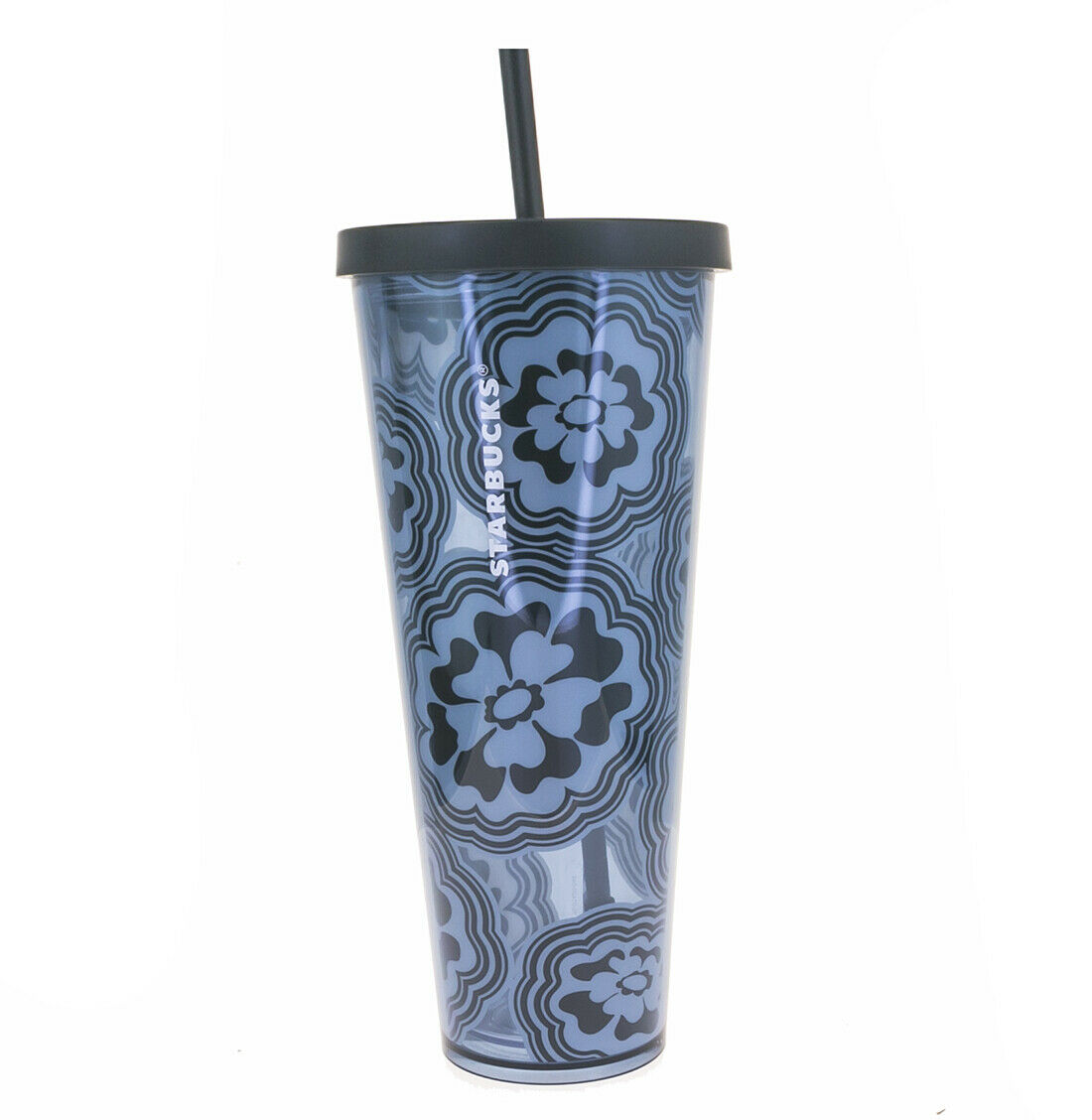 STARBUCKS Blue Wave Abstract Flower Venti Print Cold Cup Acr