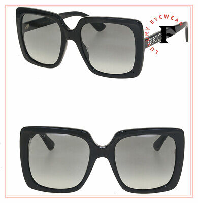 GUCCI 0418 Black Crystal Stud Square Oversized Sunglasses GG0418S Authentic