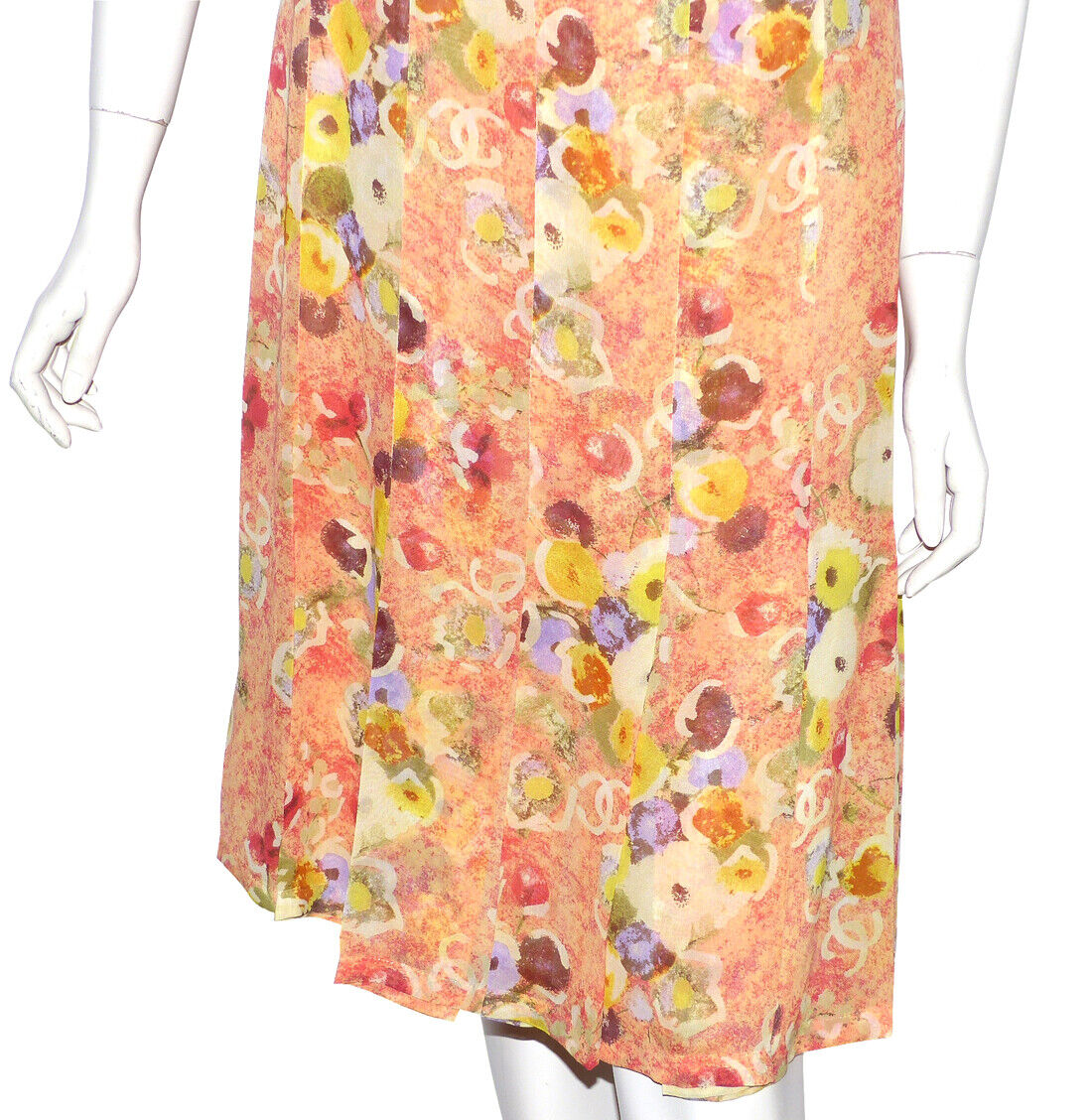 Chanel - robe en soie orange imprimÉ fleurs cc - silk dress chanel