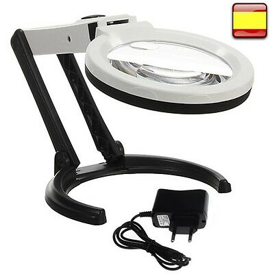 Lupa Escritorio Joyero relojero lampara con 10 luces Led de Aumento Plegable