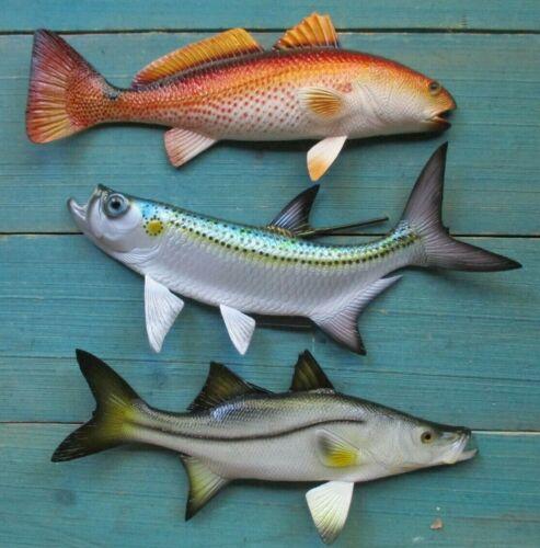 "Tarpon Redfish Snook Hand Painted Replica Wall Mount Game Fishing Salt Water 12"""