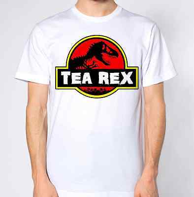 Tea Rex T-Shirt T-Rex Dinasour Jurassic Park Parody Humour Funny Caffeine Top
