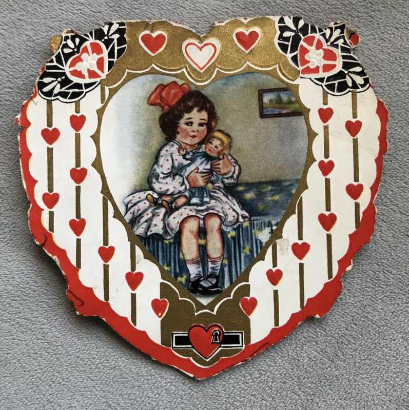 Antique/vintage Valentine's Heart Card, Used, Whitney Worcester, Mass.
