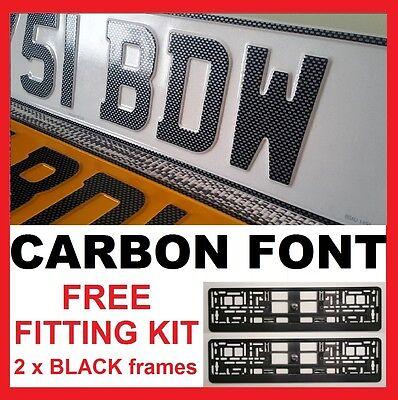 CARBON Font Car Pair Metal Aluminium Number Plates Pressed Embossed Legal 100%