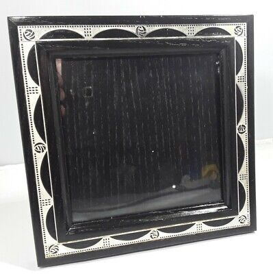 VINTAGE CARRICK CHARLES RENNIE MACKINTOSH SIVER PLATED & BLACK WOOD PHOTO FRAME