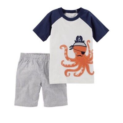 Carters Toddler Boy Outfit Octopus Pirate Shirt Striped Shorts 2t Summer NWT - Octopus Outfit
